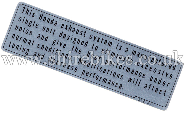 Honda Exhaust System Performance Warning Sticker suitable for use with Z50A, Z50R