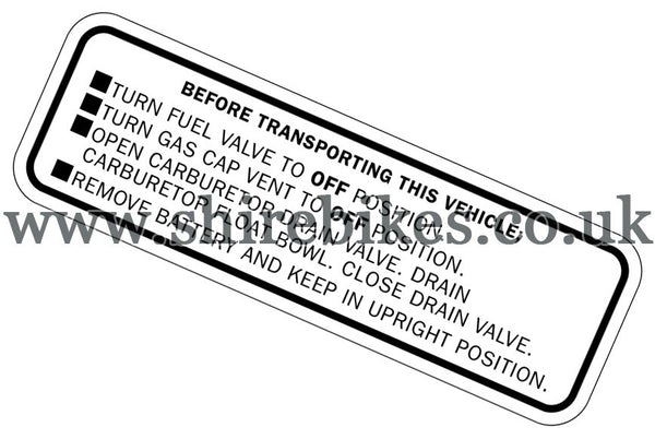 Reproduction Black Transport Caution Sticker suitable for use with Dax 6V