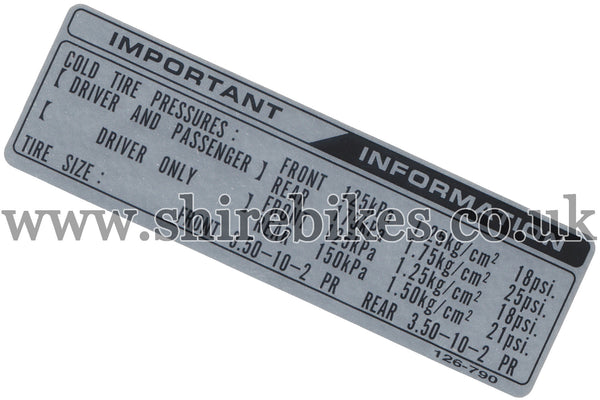Honda Tyre Pressure Sticker suitable for use with Dax 12V