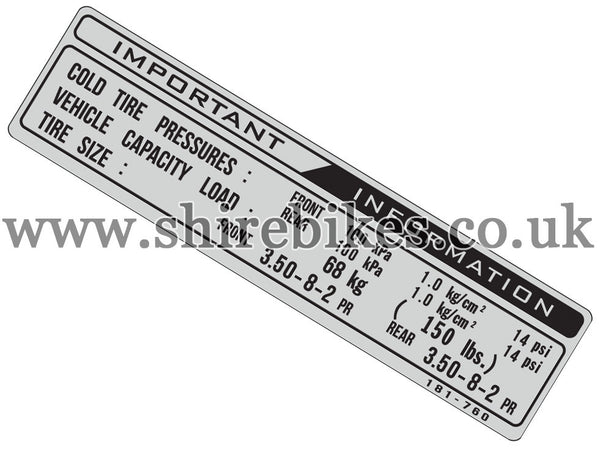 Reproduction Tyre Pressure Sticker suitable for use with Z50R