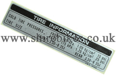 Honda (English Text) Tyre Pressure Sticker suitable for use with Z50J