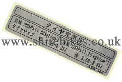 Honda (Japanese Text) Tyre Pressure Sticker suitable for use with Z50J