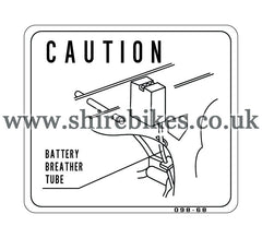 Reproduction Battery Breather Tube Caution Sticker suitable for use with Dax 6V