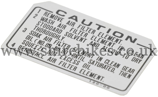 Honda Remove Air Filter Caution Sticker suitable for us with Z50R, Z50J1