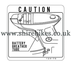 Reproduction Battery Breather Tube Caution Sticker suitable for use with Chaly 6V