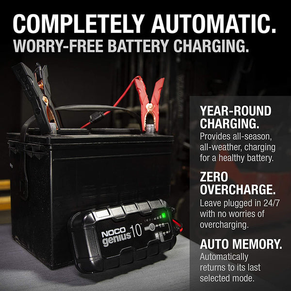 NOCO GENIUS10UK, 10-Amp Fully-Automatic Smart Charger, 6V and 12V Battery Charger, Battery Maintainer, and Battery Desulfator with Temperature Compensation