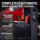 NOCO GENIUS1UK, 1-Amp Fully-Automatic Smart Charger, 6V and 12V Battery Charger, Battery Maintainer, and Battery Desulfator with Temperature Compensation