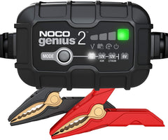 NOCO GENIUS2UK, 2-Amp Fully-Automatic Smart Charger, 6V and 12V Battery Charger, Battery Maintainer, and Battery Desulfator with Temperature Compensation
