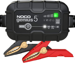 NOCO GENIUS5UK, 5-Amp Fully-Automatic Smart Charger, 6V and 12V Battery Charger, Battery Maintainer, and Battery Desulfator with Temperature Compensation