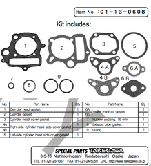 Takegawa 52mm Top End Gasket Set for 12V Head & R-Stage (H Type Barrel)