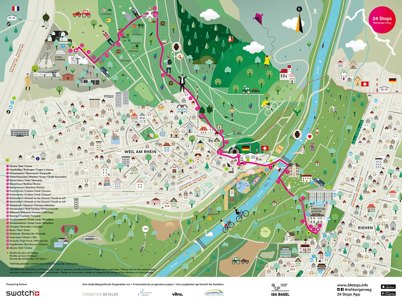 24 Stops Map – Vitra & Foundation Beyeler Collaboration