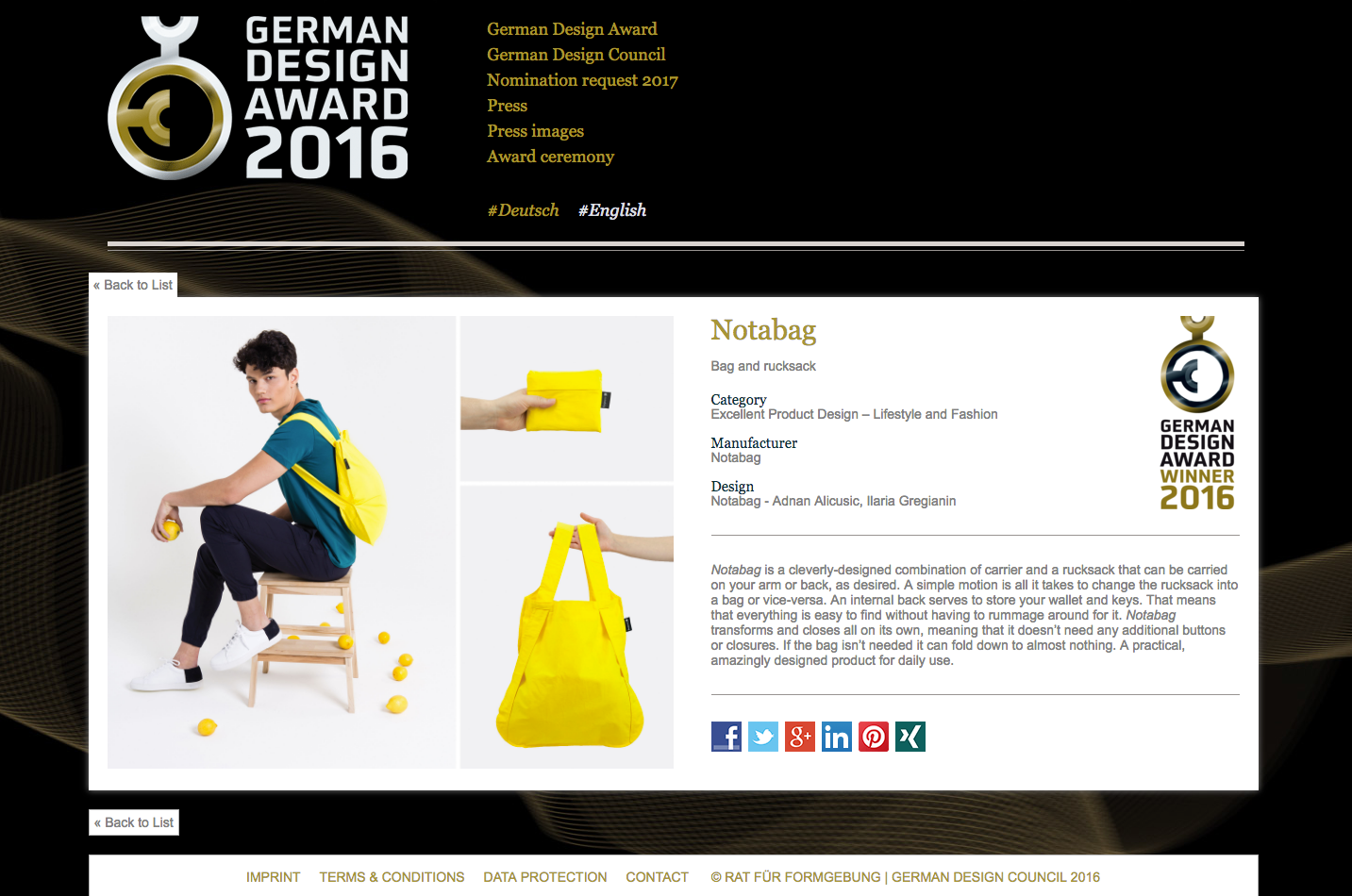 Notabag - German Design Award 2016 Winner