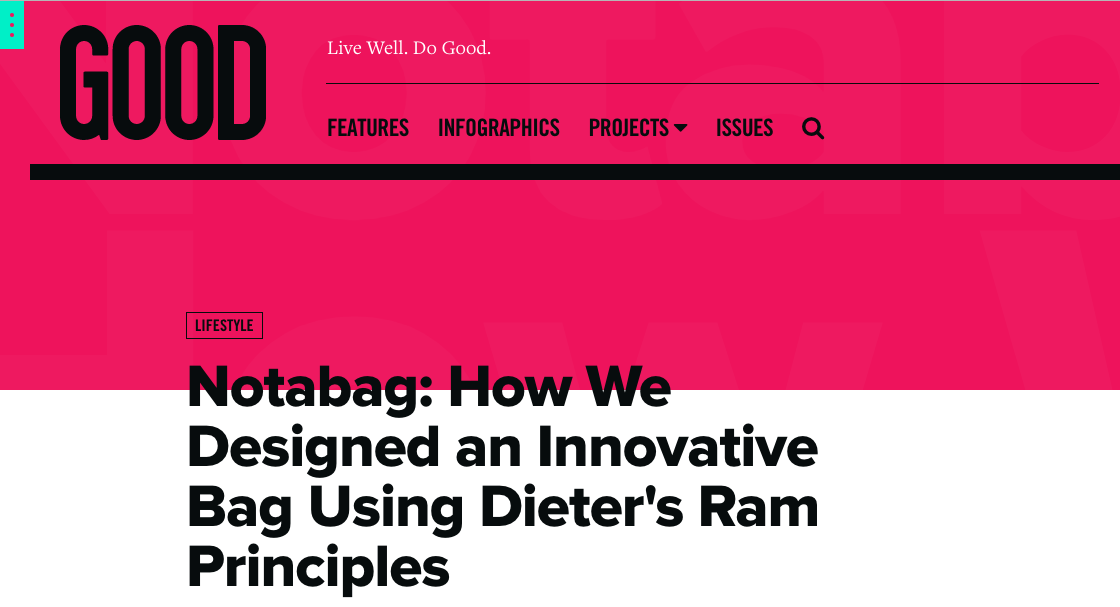 Notabag on GoodIs - Dieter Rams Ten Principles of Good Design