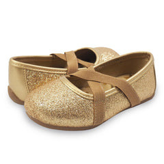 Livie and Luca gold sparkle ballet flat with elastic band