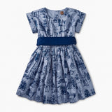 Forest Toile Sash Dress