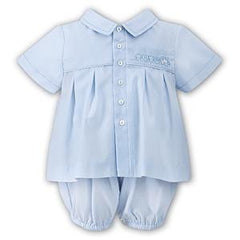 light blue button front baby boy bubble set with train embroidery