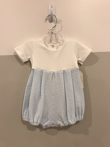 Paty light blue and white baby boy shortall