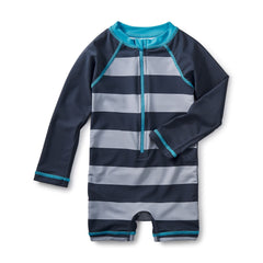gray and blue striped tea collection zip up infant boy swimsuit