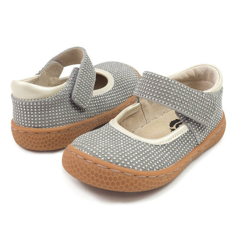 Gray sparkle livie and luca velcro closure mary jane shoe