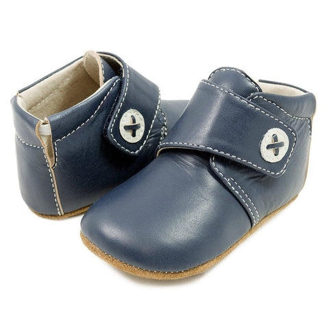 Livie and Luca navy blue leather crib shoe for baby boy