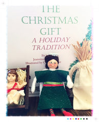 The Christmas Gift Book Set with Angel Dressed in Red and Green