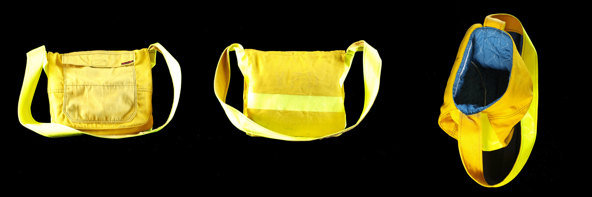 messenger bag, recycled fire turnout gear, yellow