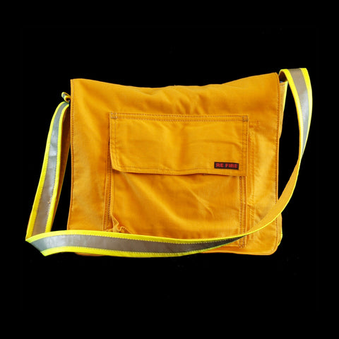 messenger bag - recycled fire turnout gear - yellow