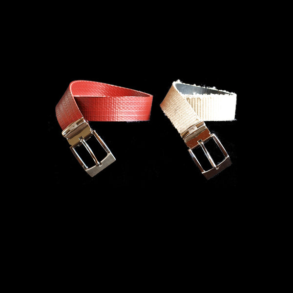 belt - narrow buckle - recycled fire hose - white weathered