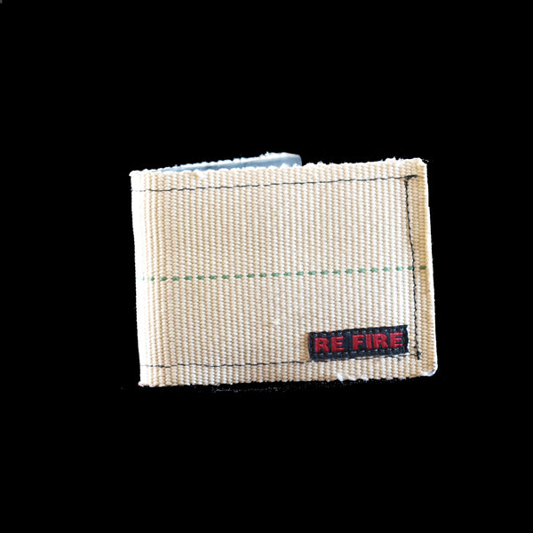 Wallet - recycled fire hose - white green stripe