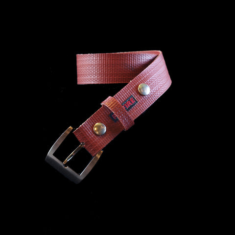 belt - standard buckle - recycled fire hose - red