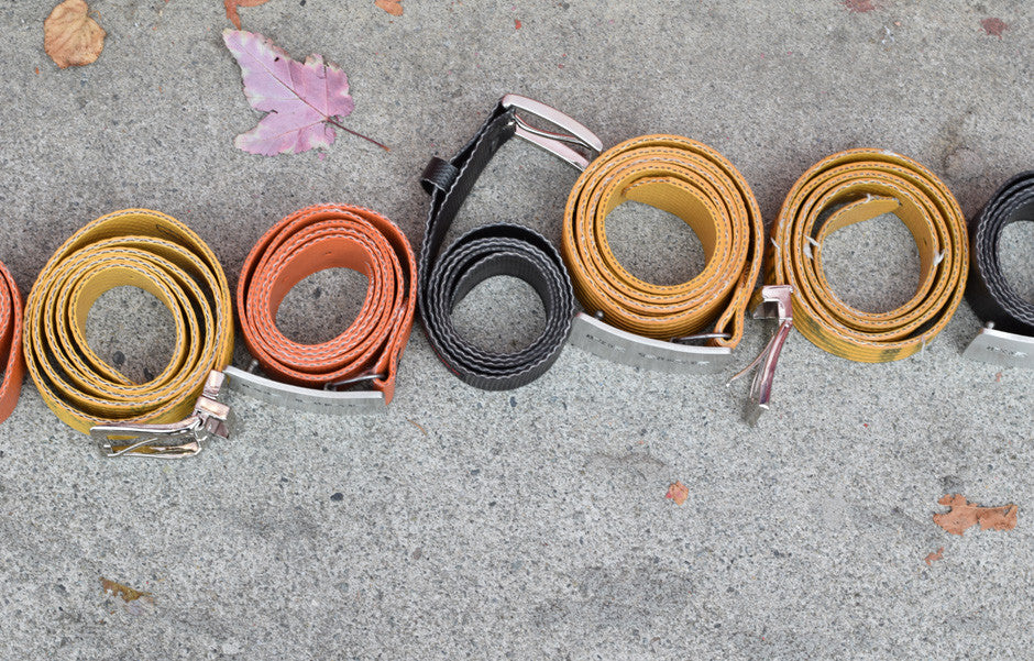 recycled, firefighter, fire hose, belts