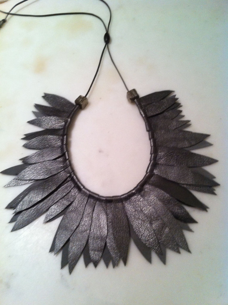 Pewter Leather Leaf Collar w/ Pyrite