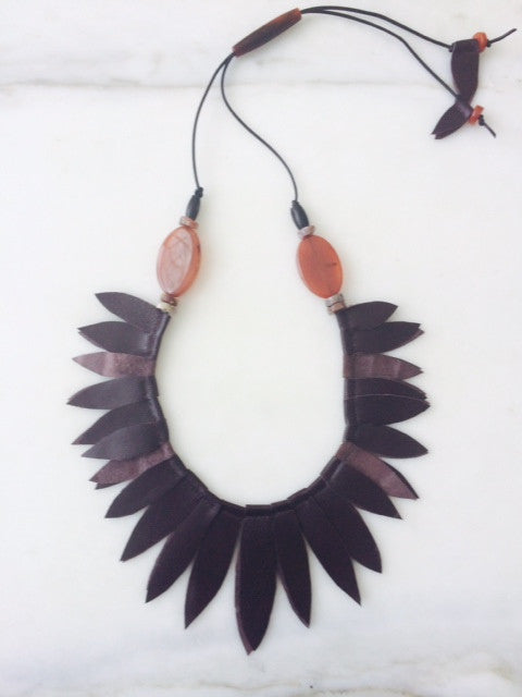 Plum Leather Leaf Collar