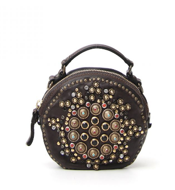 Campomaggi embellished stud crossbody bag/ dark brown