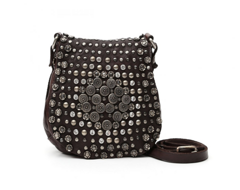 Campomaggi small cross-body bag with studs and rhinestones/ dark brown