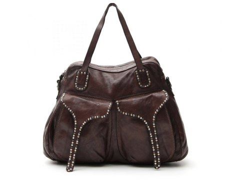 Campomaggi Shoulder bag w/ two front pockets and small studs/ dark brown (coming soon)