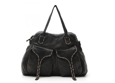 Campomaggi Shoulder bag w/ two front pockets and small studs/ black ( SOLD OUT)