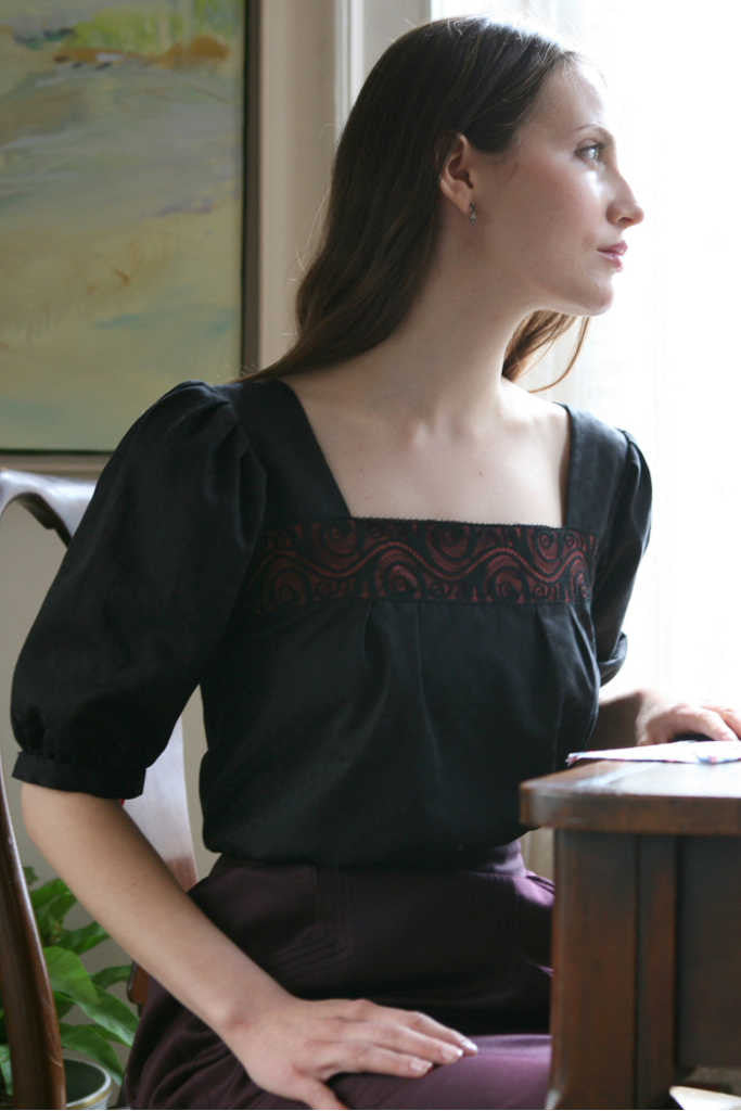 peasent blouse with lace inset