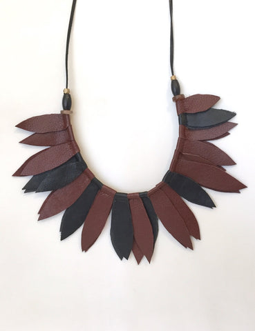 Black and brown leather leaf collar