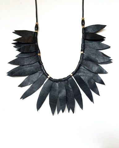 Black Leather Leaf Collar  with horn beads