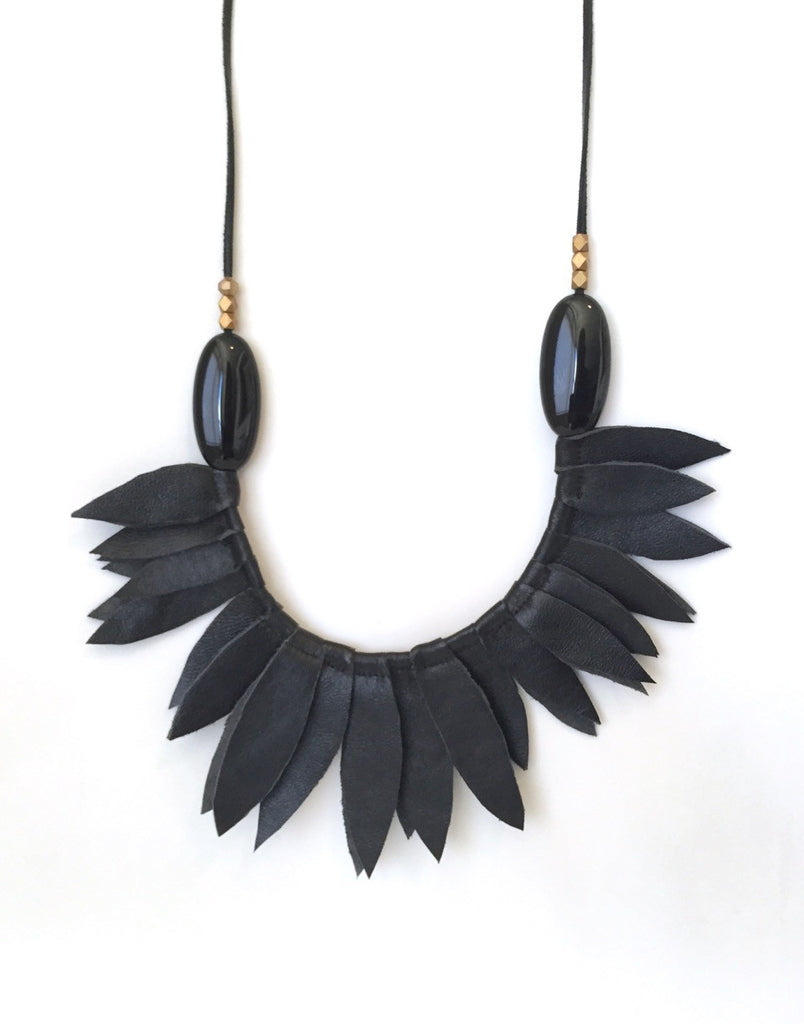 Black leather leaf collar with onyx oval stones ( sold out)
