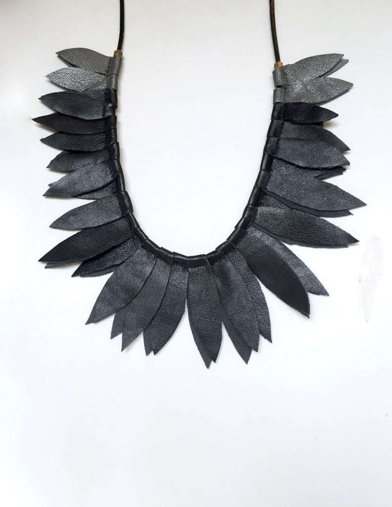 Black leaf leather collar with pewter accent leaves