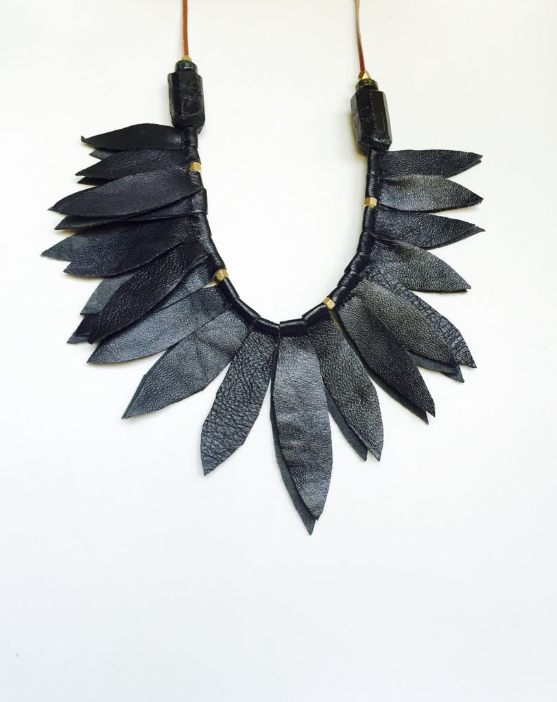Black Leather Leaf Collar w/ Tourmaline ( sold out)