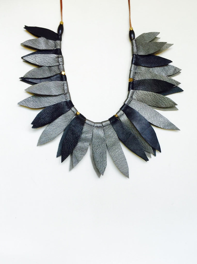 Black and pewter leather leaf collar with horn beads