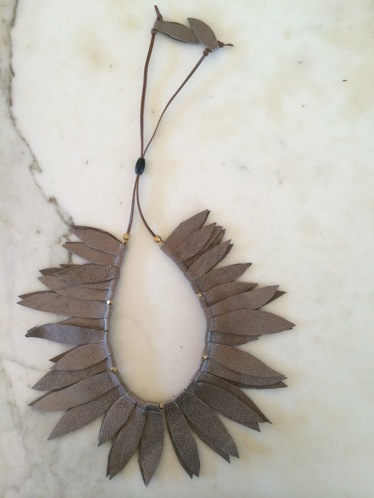 Bronze Leather Leaf Collar