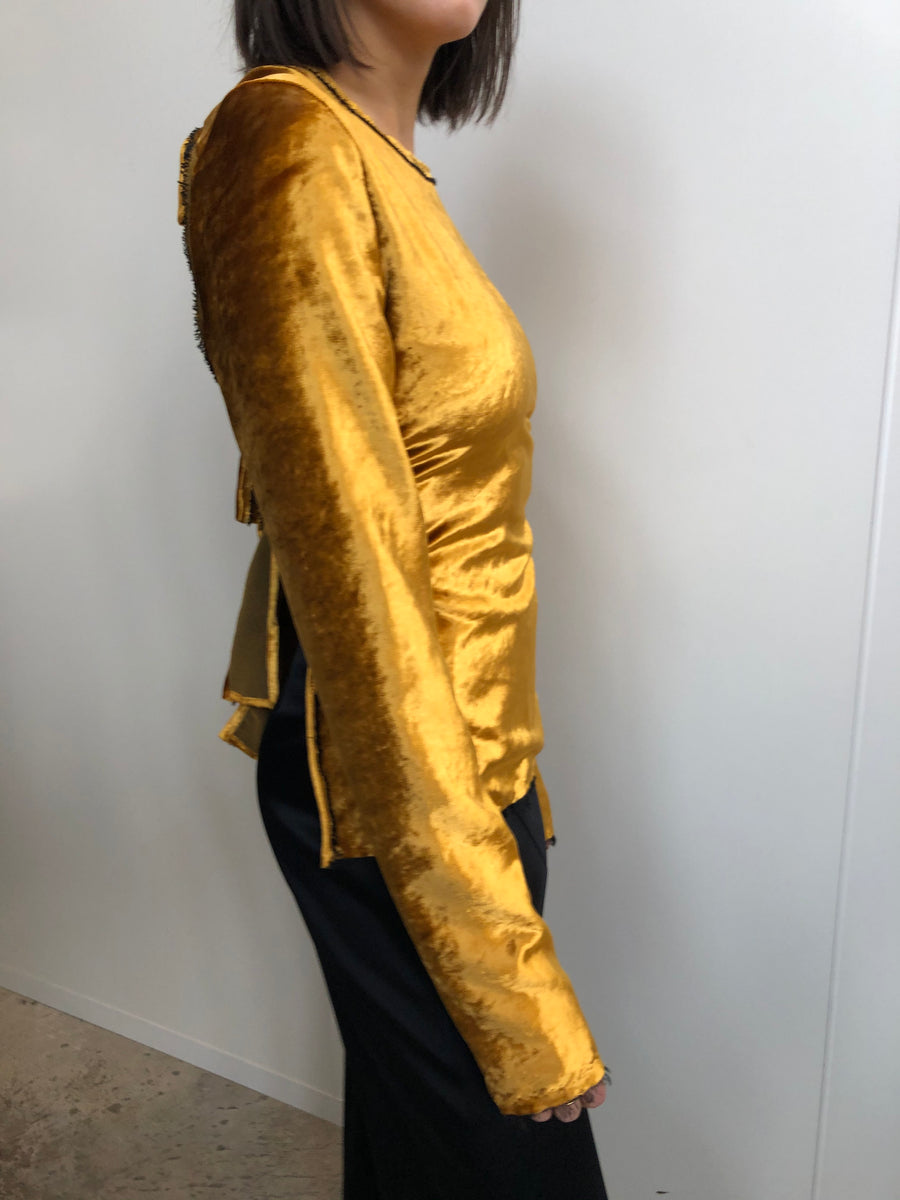 GOLD VELVET TIE BACK LONG SLEEVE BLOUSE