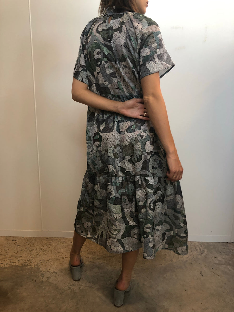 Cubist embossed oversized dress