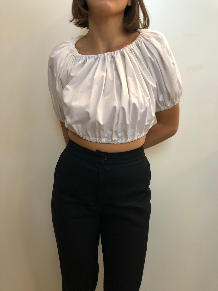 Gathered cotton cropped top