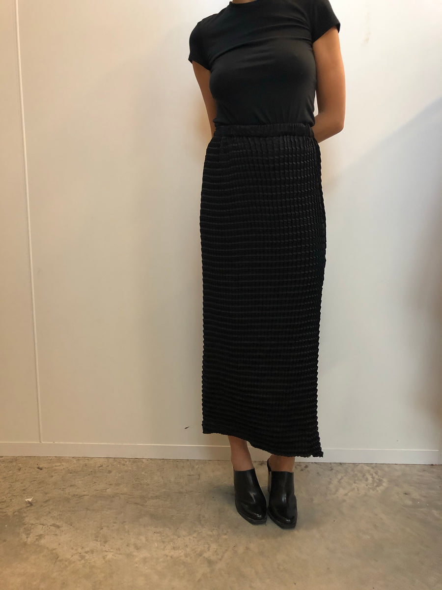 Double Knife Pleated Midi Skirt