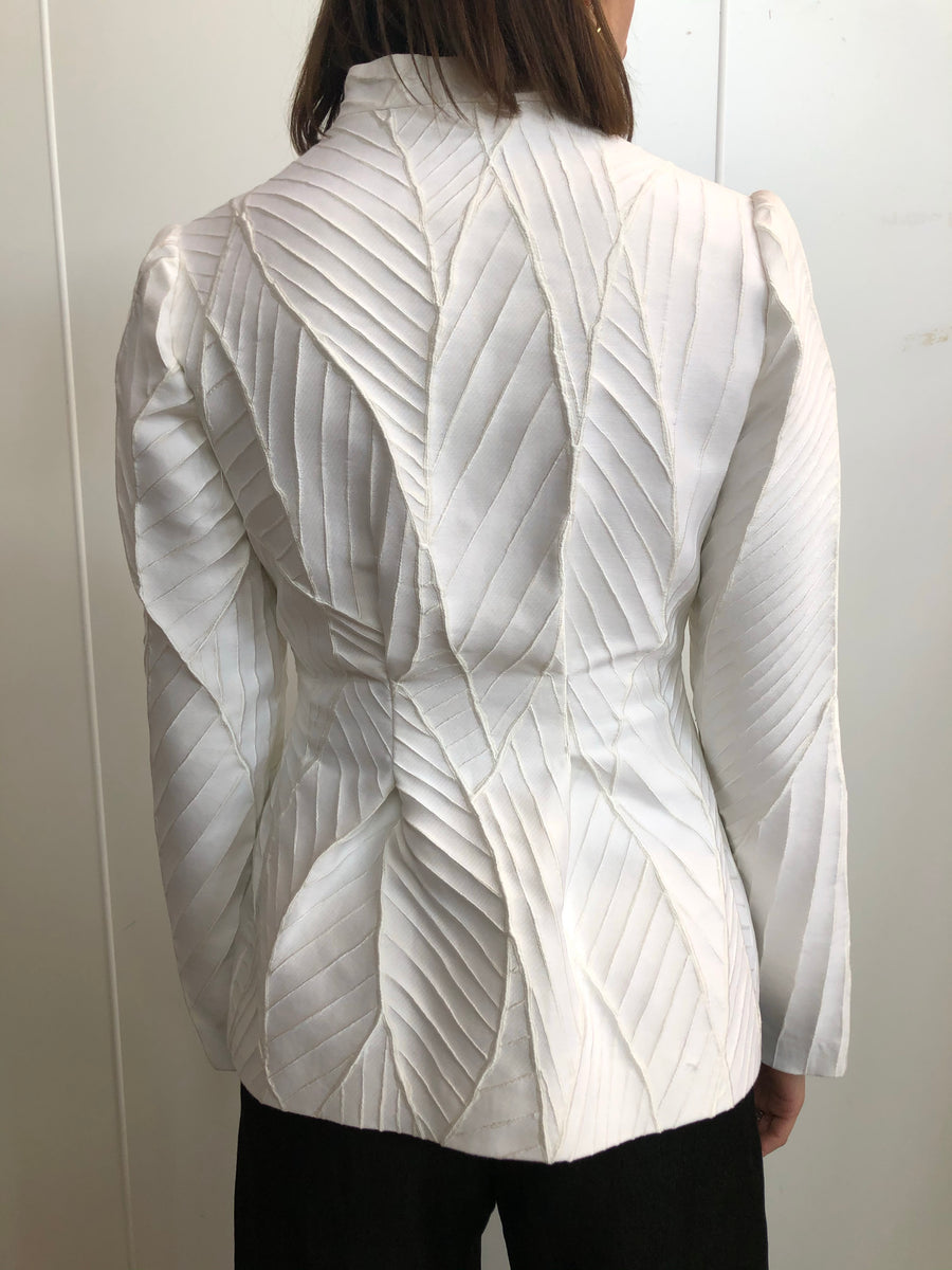 White Leaf Jacquard Single Button Blazer